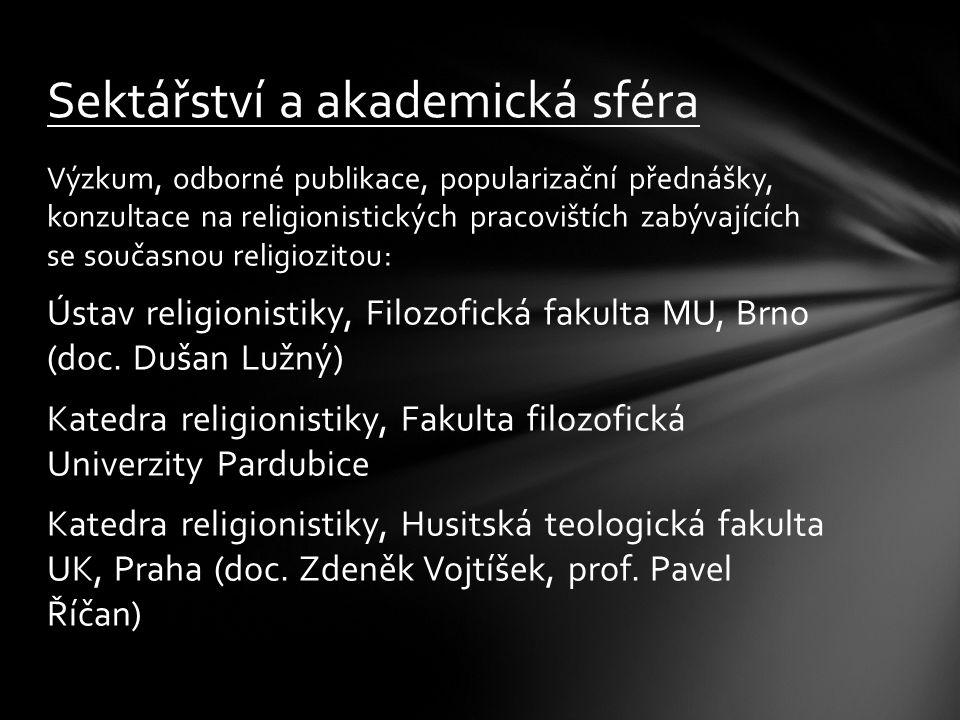 Výzkum, odborné publikace, popularizační přednášky, konzultace na religionistických pracovištích zabývajících se současnou religiozitou: Ústav religio