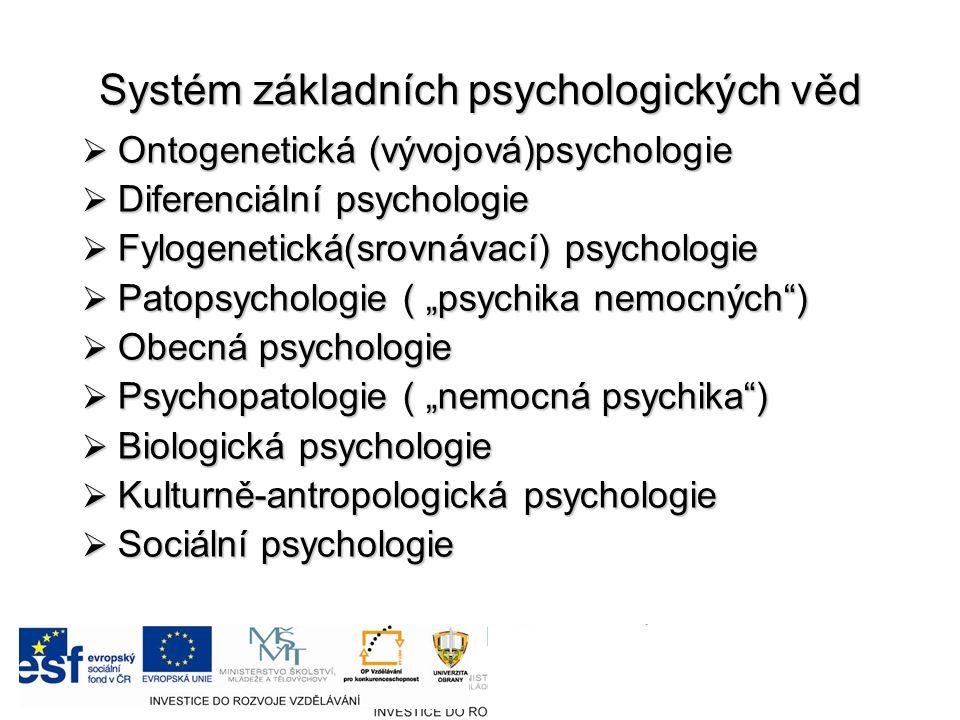 """Systém základních psychologických věd  Ontogenetická (vývojová)psychologie  Diferenciální psychologie  Fylogenetická(srovnávací) psychologie  Patopsychologie ( """"psychika nemocných )  Obecná psychologie  Psychopatologie ( """"nemocná psychika )  Biologická psychologie  Kulturně-antropologická psychologie  Sociální psychologie"""