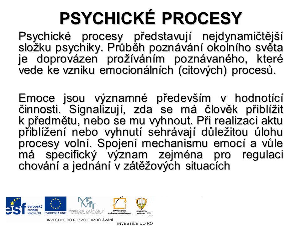 PSYCHICKÉ PROCESY Psychické procesy představují nejdynamičtější složku psychiky.