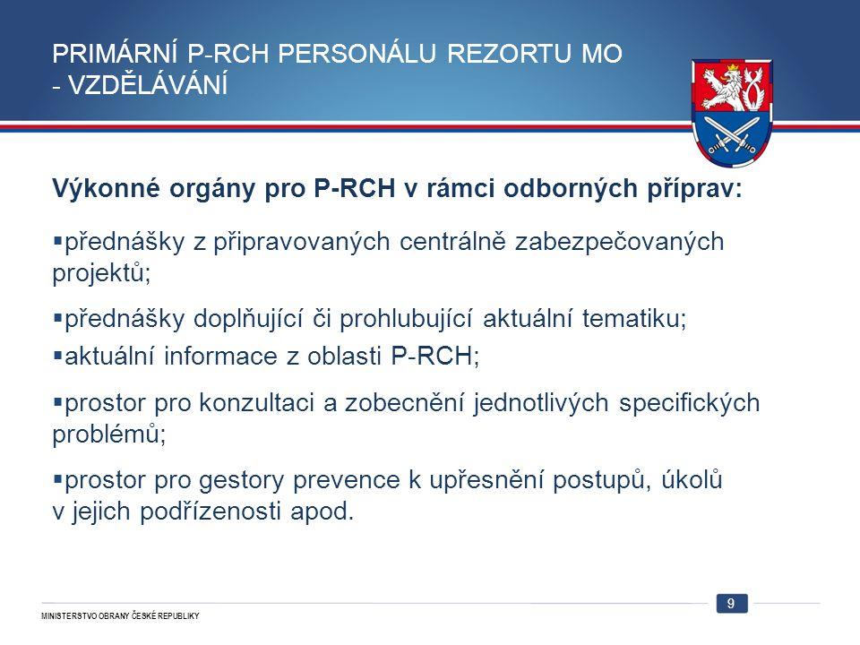 MINISTERSTVO OBRANY ČESKÉ REPUBLIKY 9 PRIMÁRNÍ P-RCH PERSONÁLU REZORTU MO - VZDĚLÁVÁNÍ Výkonné orgány pro P-RCH v rámci odborných příprav:  přednášky z připravovaných centrálně zabezpečovaných projektů;  přednášky doplňující či prohlubující aktuální tematiku;  aktuální informace z oblasti P-RCH;  prostor pro konzultaci a zobecnění jednotlivých specifických problémů;  prostor pro gestory prevence k upřesnění postupů, úkolů v jejich podřízenosti apod.