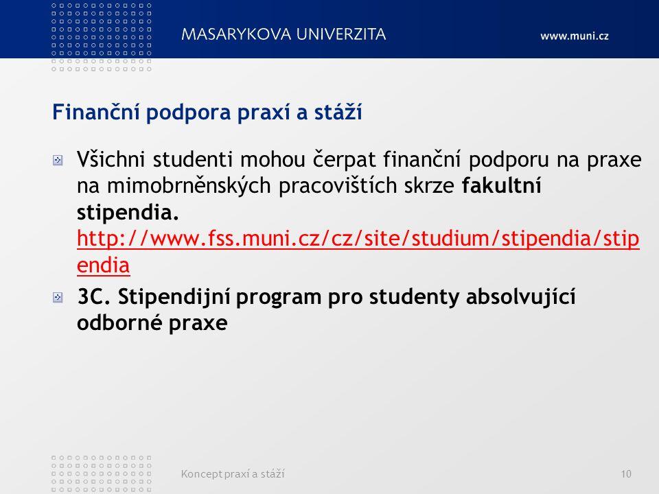 Finanční podpora praxí a stáží Všichni studenti mohou čerpat finanční podporu na praxe na mimobrněnských pracovištích skrze fakultní stipendia.