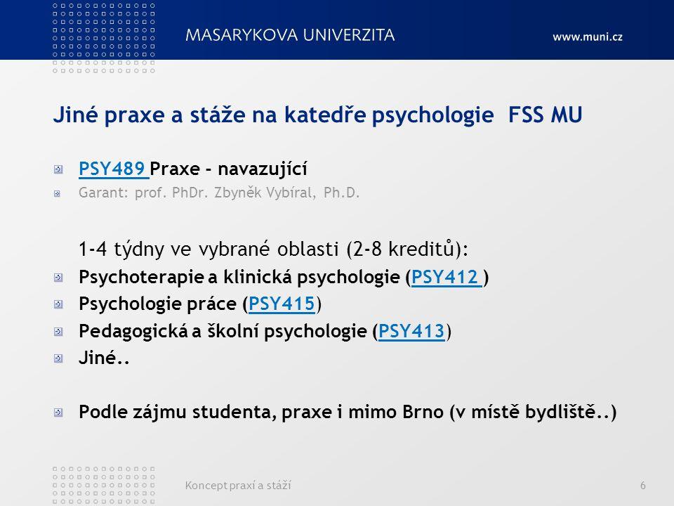 Koncept praxí a stáží6 Jiné praxe a stáže na katedře psychologie FSS MU PSY489 Praxe - navazující Garant: prof.
