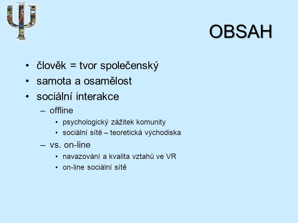 OBSAH člověk = tvor společenský samota a osamělost sociální interakce –offline psychologický zážitek komunity sociální sítě – teoretická východiska –vs.