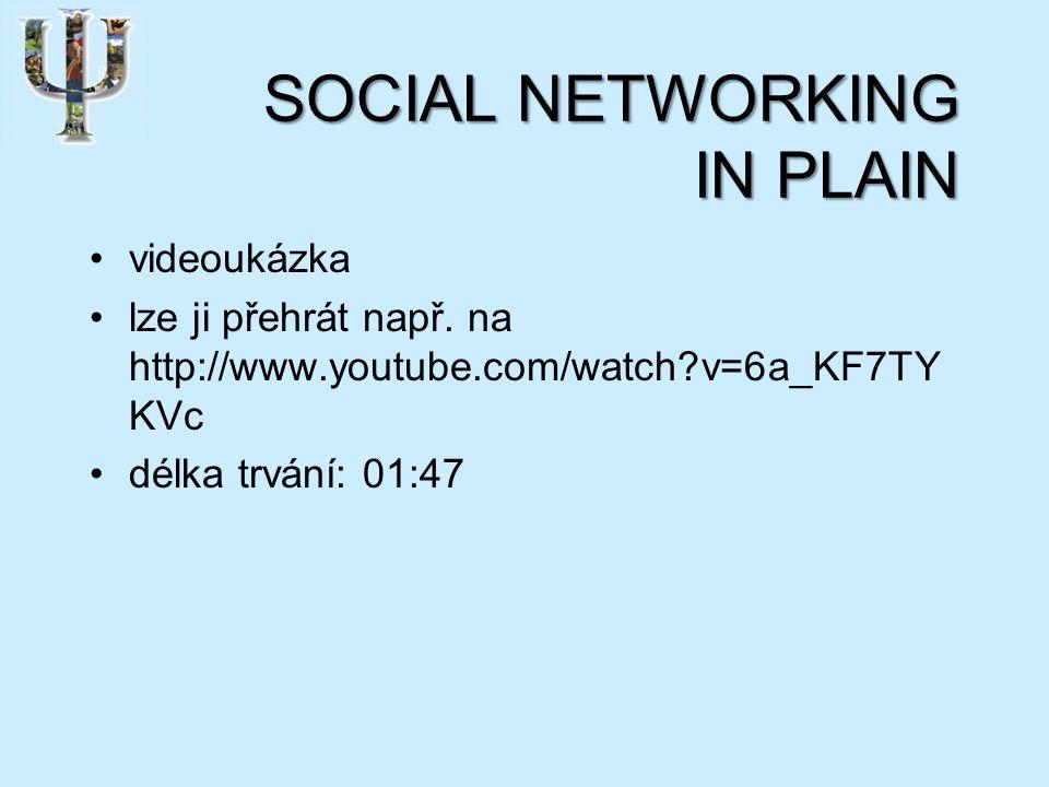 SOCIAL NETWORKING IN PLAIN videoukázka lze ji přehrát např.