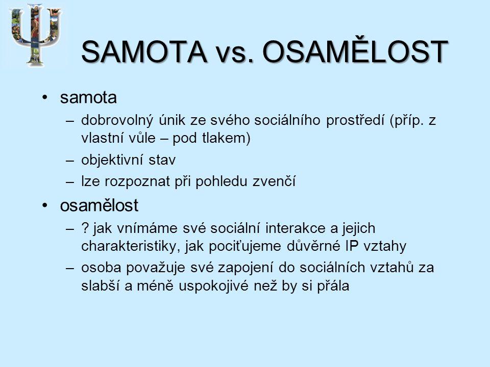 SAMOTA vs. OSAMĚLOST samota –dobrovolný únik ze svého sociálního prostředí (příp.