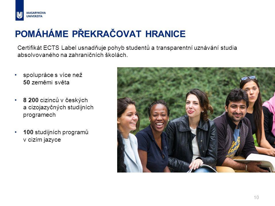 POMÁHÁME PŘEKRAČOVAT HRANICE spolupráce s více než 50 zeměmi světa 8 200 cizinců v českých a cizojazyčných studijních programech 100 studijních programů v cizím jazyce 10 Certifikát ECTS Label usnadňuje pohyb studentů a transparentní uznávání studia absolvovaného na zahraničních školách.