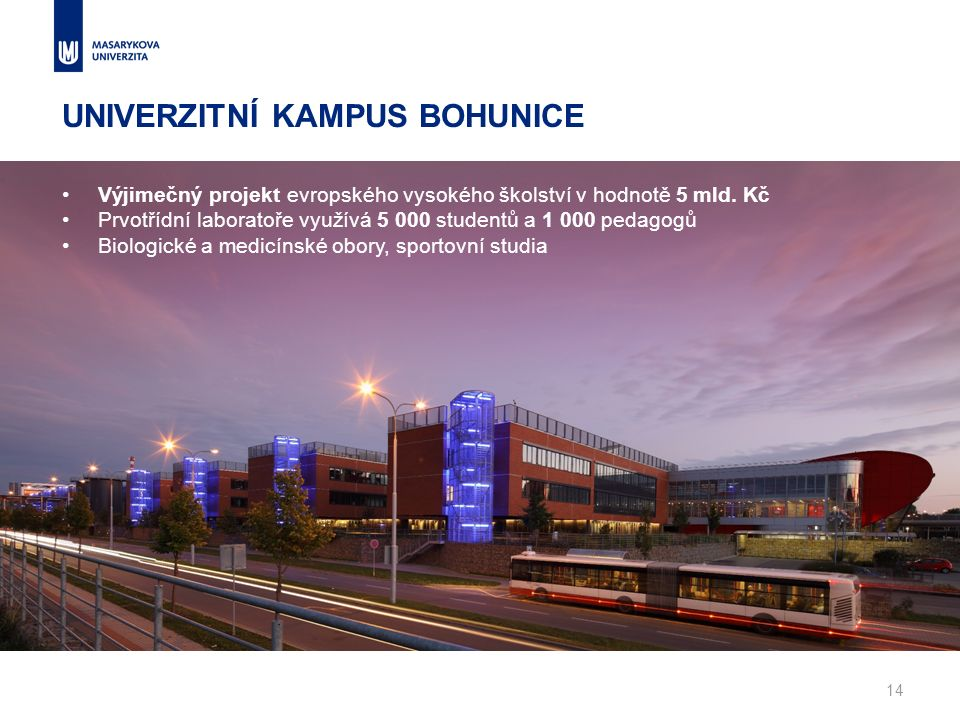 Výjimečný projekt evropského vysokého školství v hodnotě 5 mld. Kč Prvotřídní laboratoře využívá 5 000 studentů a 1 000 pedagogů Biologické a medicíns