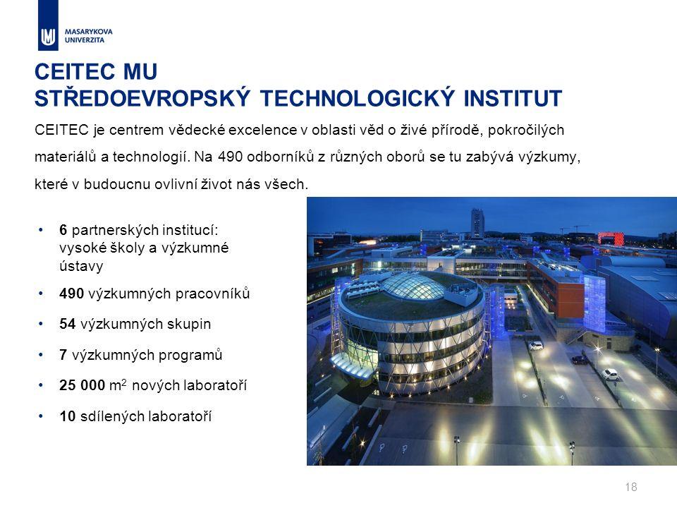 CEITEC MU STŘEDOEVROPSKÝ TECHNOLOGICKÝ INSTITUT CEITEC je centrem vědecké excelence v oblasti věd o živé přírodě, pokročilých materiálů a technologií.