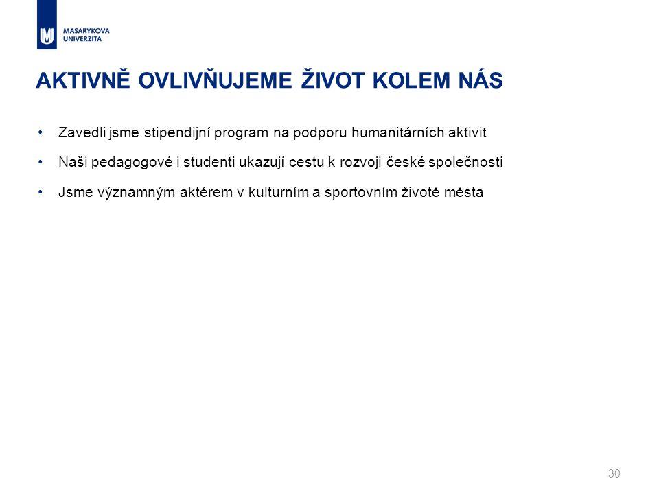 Zavedli jsme stipendijní program na podporu humanitárních aktivit Naši pedagogové i studenti ukazují cestu k rozvoji české společnosti Jsme významným