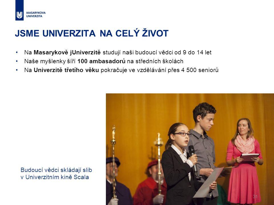 JSME UNIVERZITA NA CELÝ ŽIVOT Na Masarykově jUniverzitě studují naši budoucí vědci od 9 do 14 let Naše myšlenky šíří 100 ambasadorů na středních školách Na Univerzitě třetího věku pokračuje ve vzdělávání přes 4 500 seniorů 31 Budoucí vědci skládají slib v Univerzitním kině Scala