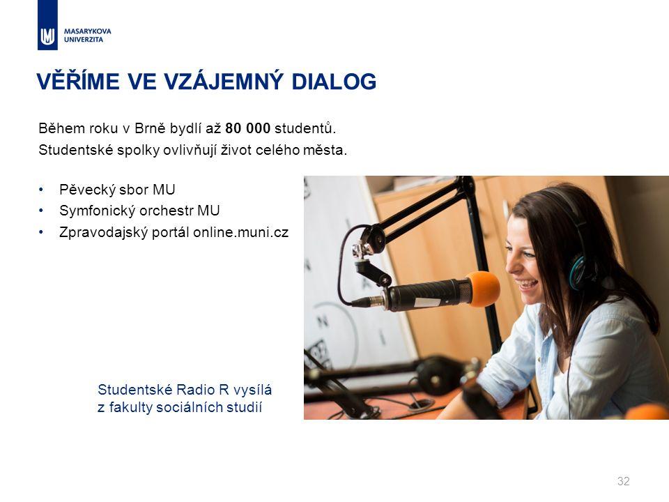 VĚŘÍME VE VZÁJEMNÝ DIALOG Během roku v Brně bydlí až 80 000 studentů. Studentské spolky ovlivňují život celého města. Pěvecký sbor MU Symfonický orche