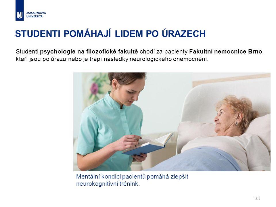 STUDENTI POMÁHAJÍ LIDEM PO ÚRAZECH 33 Studenti psychologie na filozofické fakultě chodí za pacienty Fakultní nemocnice Brno, kteří jsou po úrazu nebo je trápí následky neurologického onemocnění.