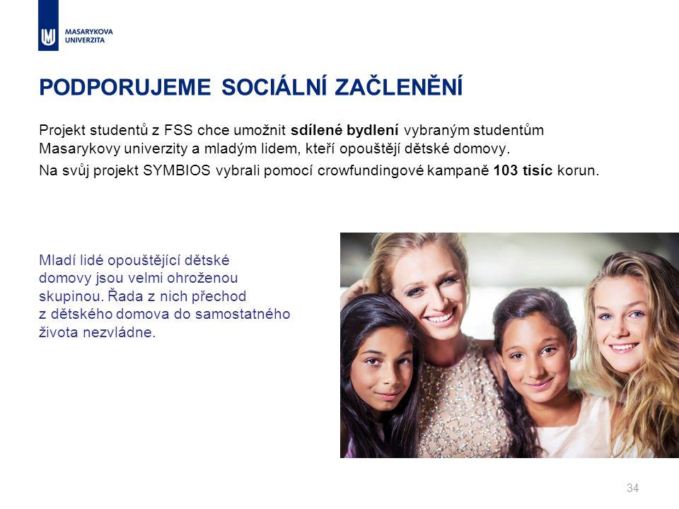 PODPORUJEME SOCIÁLNÍ ZAČLENĚNÍ Projekt studentů z FSS chce umožnit sdílené bydlení vybraným studentům Masarykovy univerzity a mladým lidem, kteří opouštějí dětské domovy.