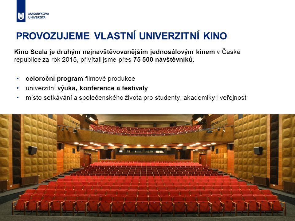 PROVOZUJEME VLASTNÍ UNIVERZITNÍ KINO celoroční program filmové produkce univerzitní výuka, konference a festivaly místo setkávání a společenského živo
