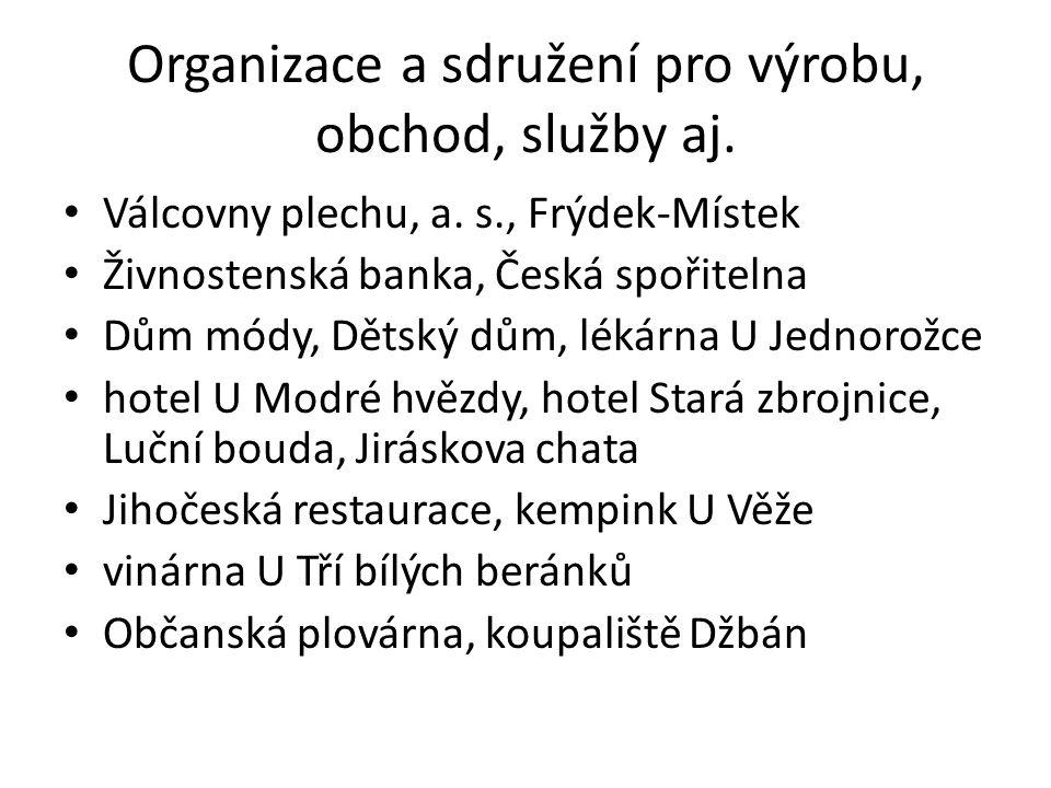 Organizace a sdružení pro výrobu, obchod, služby aj.