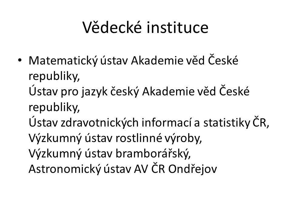 Vědecké instituce Matematický ústav Akademie věd České republiky, Ústav pro jazyk český Akademie věd České republiky, Ústav zdravotnických informací a