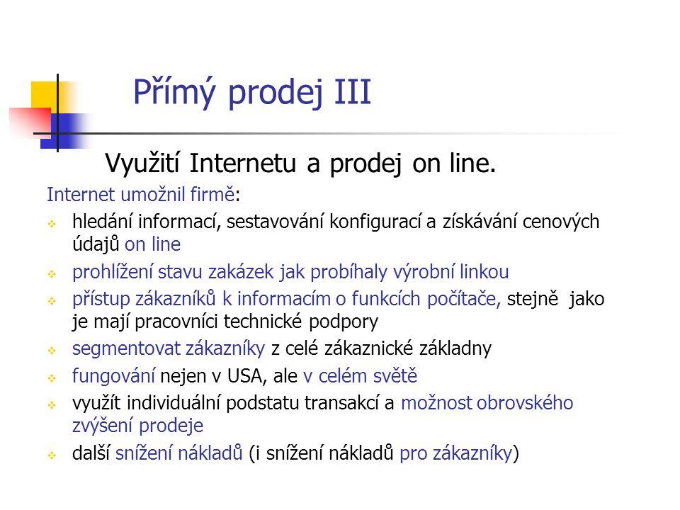 Přímý prodej III Využití Internetu a prodej on line.
