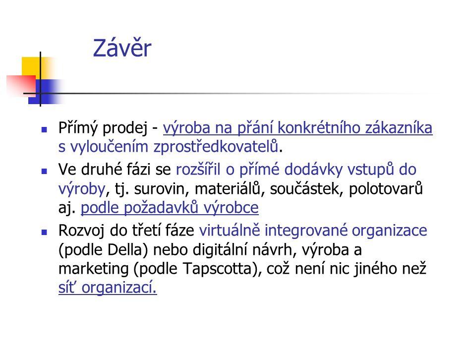 Závěr Přímý prodej - výroba na přání konkrétního zákazníka s vyloučením zprostředkovatelů.