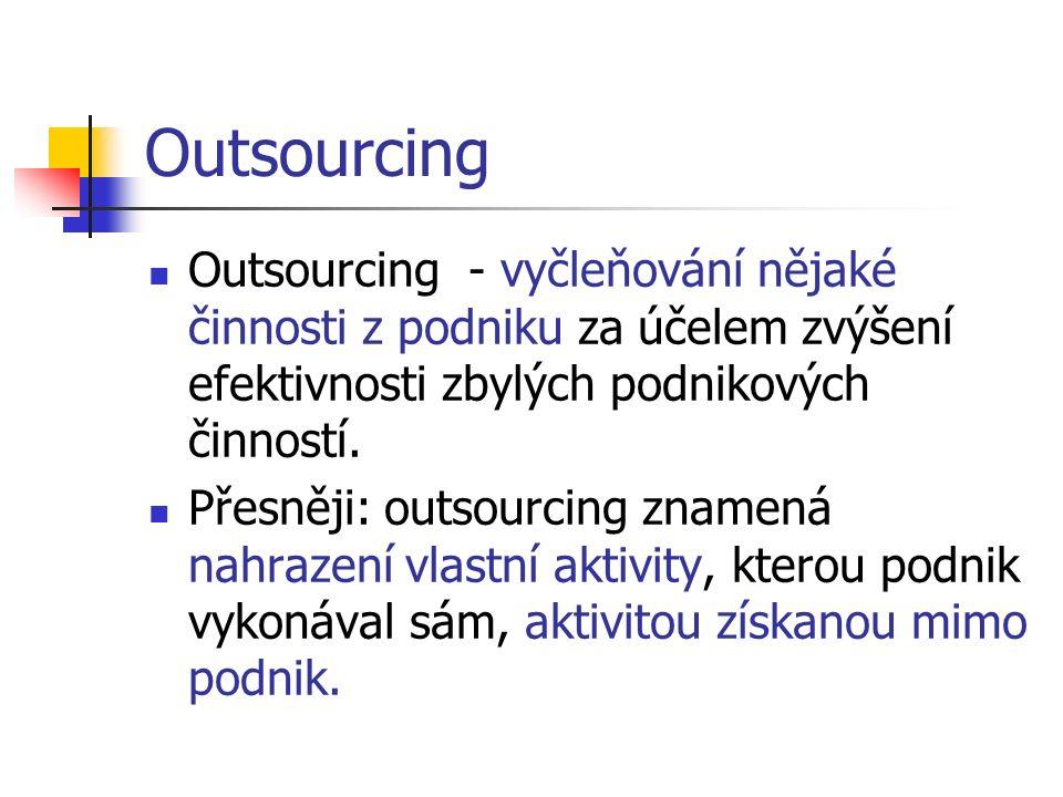 Outsourcing Outsourcing - vyčleňování nějaké činnosti z podniku za účelem zvýšení efektivnosti zbylých podnikových činností.