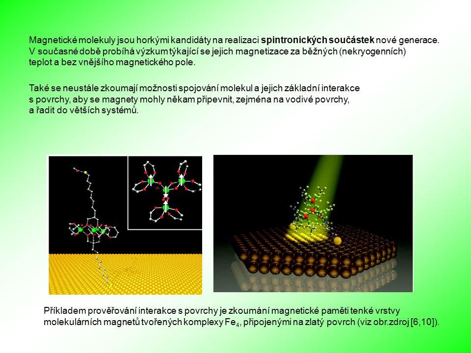 Také se neustále zkoumají možnosti spojování molekul a jejich základní interakce s povrchy, aby se magnety mohly někam připevnit, zejména na vodivé povrchy, a řadit do větších systémů.