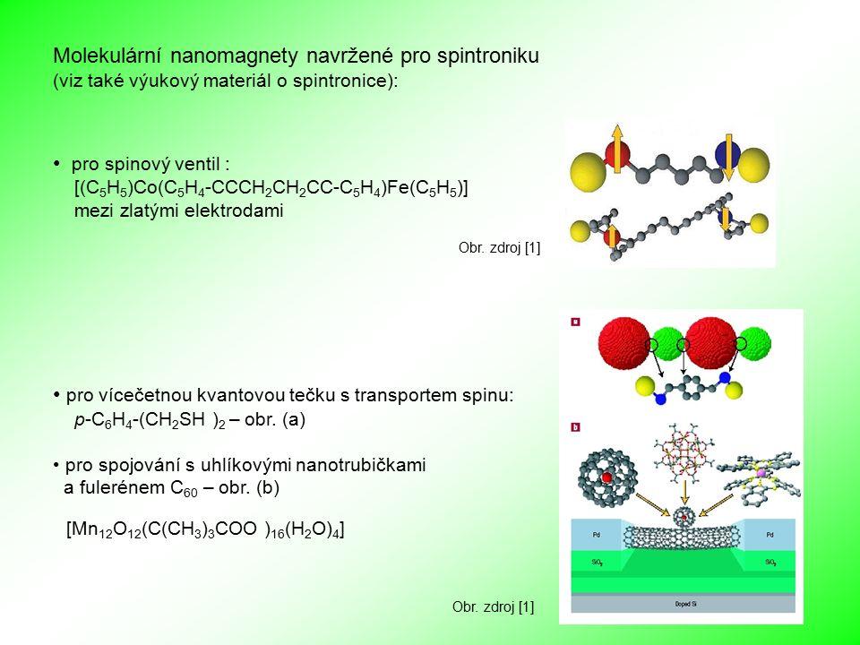 pro spinový ventil : [(C 5 H 5 )Co(C 5 H 4 -CCCH 2 CH 2 CC-C 5 H 4 )Fe(C 5 H 5 )] mezi zlatými elektrodami Molekulární nanomagnety navržené pro spintroniku (viz také výukový materiál o spintronice): Obr.