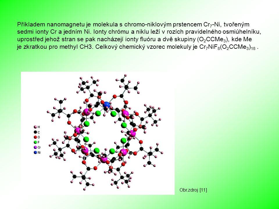 Další příklady molekulárních nanomagnetů: Mn 12 Ac neboli [Mn 12 O 12 (CH3COO) 16 (H 2 O) 4 ] - z toho 4 ionty Mn 4+, 8 iontů Mn 3+ - ionty Mn jsou spojeny mosty O 2- - na vnějším okraji jsou acetátové ligandy - acetáty mohou být chemicky nahrazeny, a tím se dají ladit vlastnosti magnetu a nebo se magnety dají připojit k povrchu jiných materiálů Fe 8 neboli [(tacn) 6 Fe 8 (O) 2 (OH) 12 (H 2 O)] - ionty Fe 3+ jsou spojeny mosty O 2- a OH - - tacn je ligand na vnějším okraji molekuly [Mn 4 ] 2 neboli [Mn 4 O 3 Cl 4 (CH 3 CH 2 COO) 3 (py) 3 ] 2 - z toho 1 iont Mn 4+, 3 ionty Mn 3+ - ionty Mn jsou spojeny mosty O 2-, Cl - a proprionatem - pyridin (py) a další ionty Cl - jsou navázány na vnějším okraji molekuly jako ligandy Obr.