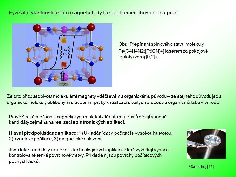 Právě široké možnosti magnetických molekul z těchto materiálů dělají vhodné kandidáty zejména na realizaci spintronických aplikací. Hlavní předpokláda