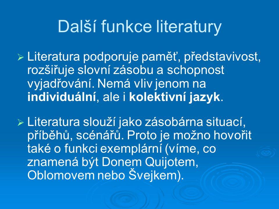 Další funkce literatury   Literatura podporuje paměť, představivost, rozšiřuje slovní zásobu a schopnost vyjadřování.