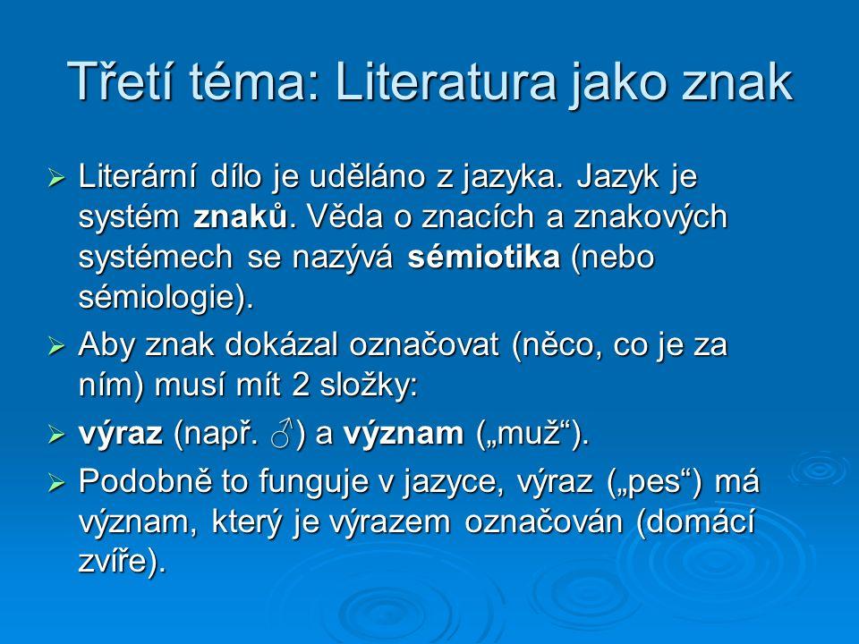 Třetí téma: Literatura jako znak  Literární dílo je uděláno z jazyka.