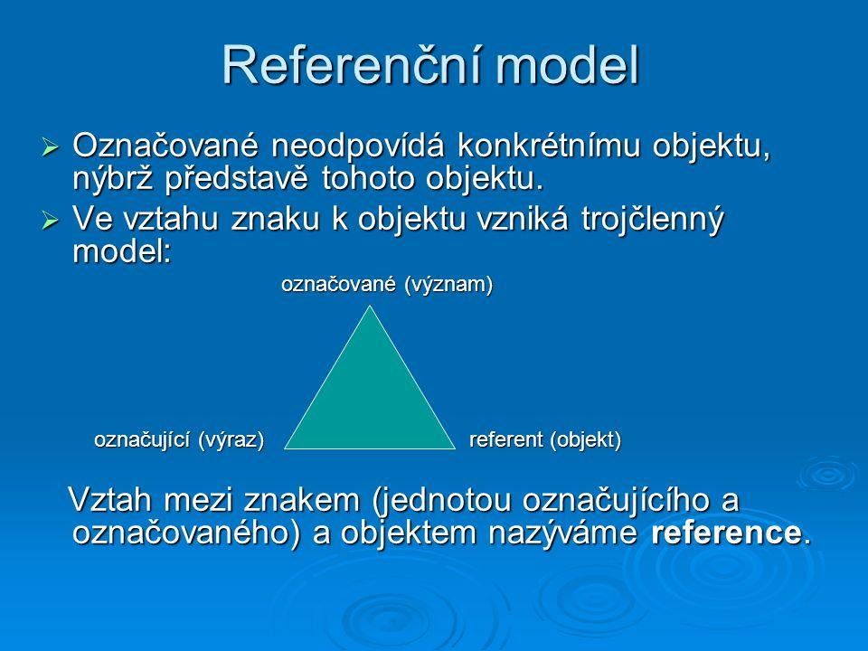 Referenční model  Označované neodpovídá konkrétnímu objektu, nýbrž představě tohoto objektu.