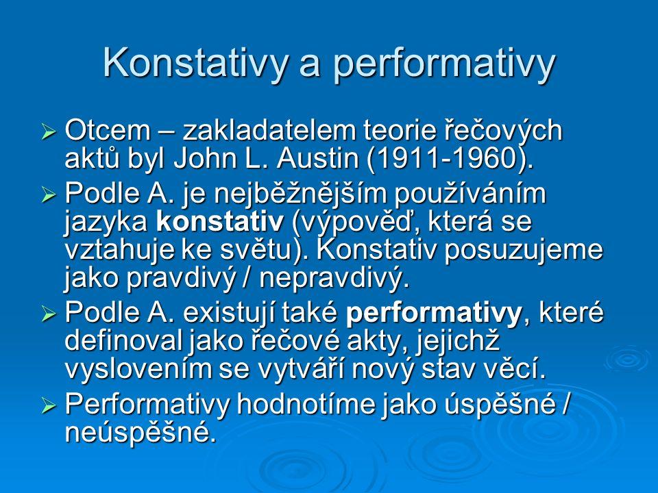 Konstativy a performativy  Otcem – zakladatelem teorie řečových aktů byl John L.