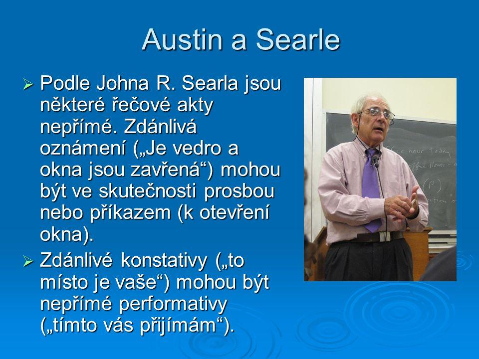 Austin a Searle  Podle Johna R. Searla jsou některé řečové akty nepřímé.