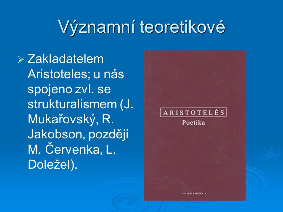 Významní teoretikové   Zakladatelem Aristoteles; u nás spojeno zvl.