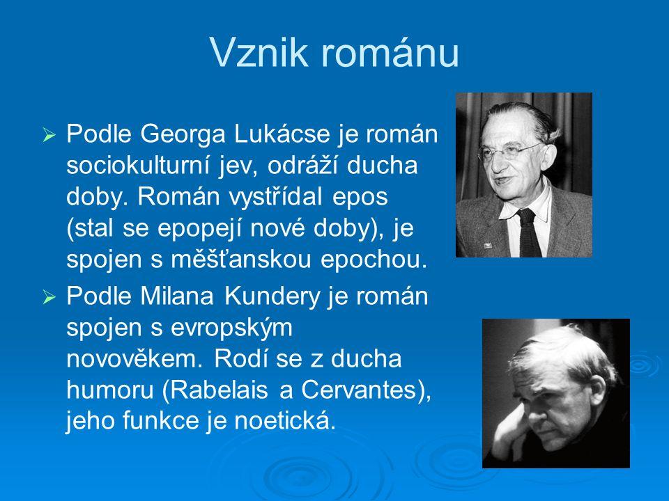 Vznik románu   Podle Georga Lukácse je román sociokulturní jev, odráží ducha doby.