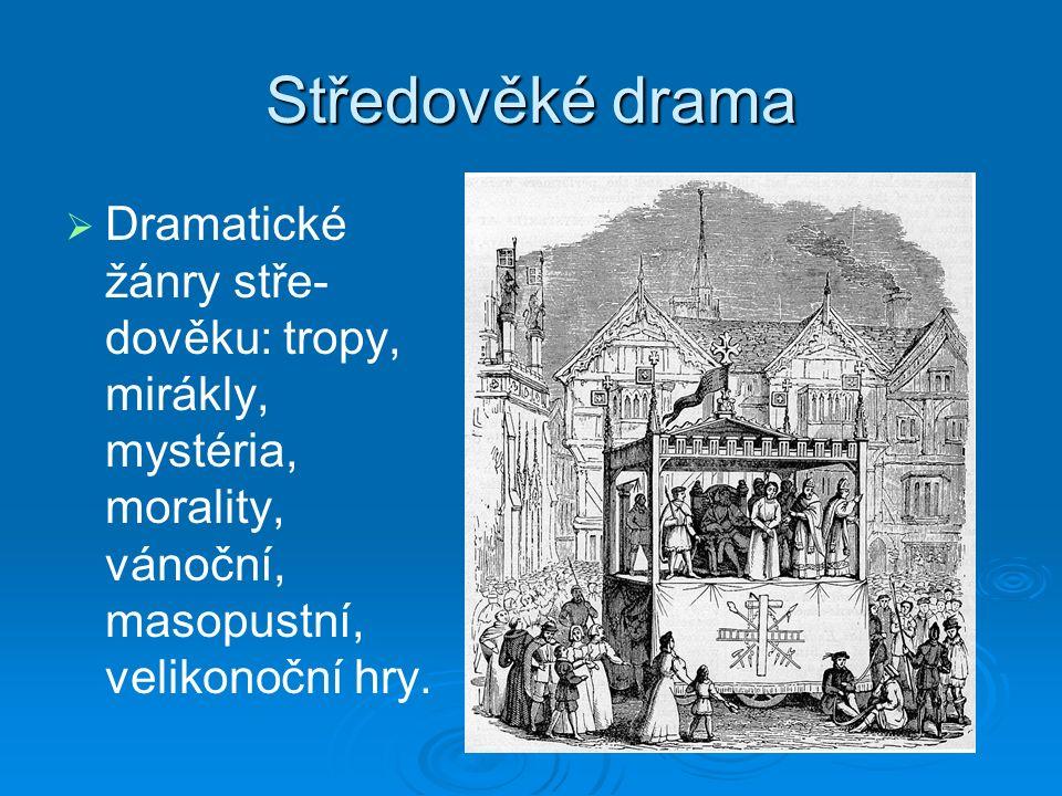 Středověké drama   Dramatické žánry stře- dověku: tropy, mirákly, mystéria, morality, vánoční, masopustní, velikonoční hry.