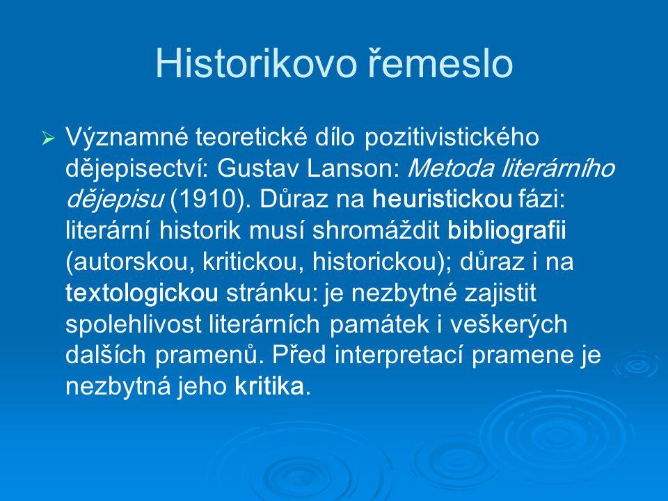 Historikovo řemeslo   Významné teoretické dílo pozitivistického dějepisectví: Gustav Lanson: Metoda literárního dějepisu (1910).