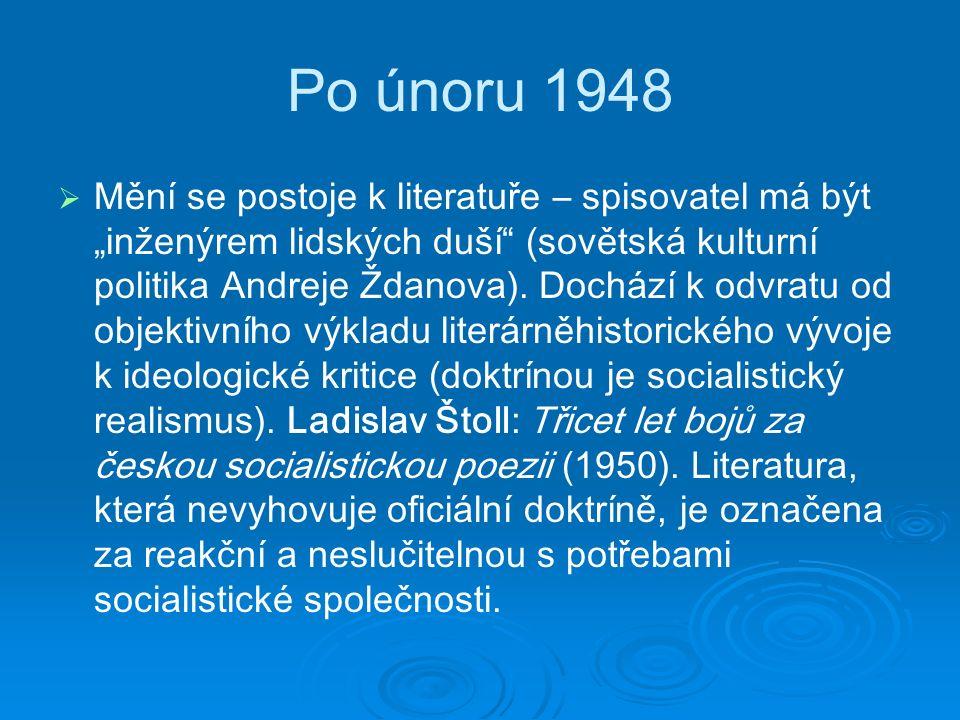 """Po únoru 1948   M ění se postoje k literatuře – spisovatel má být """"inženýrem lidských duší (sovětská kulturní politika Andreje Ždanova)."""