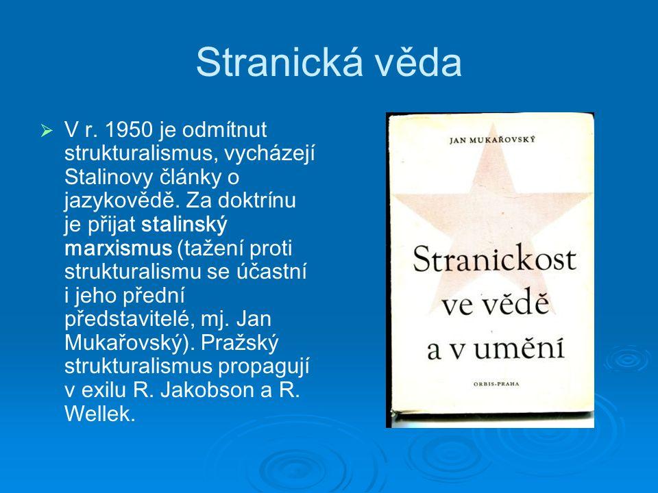 Stranická věda   V r. 1950 je odmítnut strukturalismus, vycházejí Stalinovy články o jazykovědě.