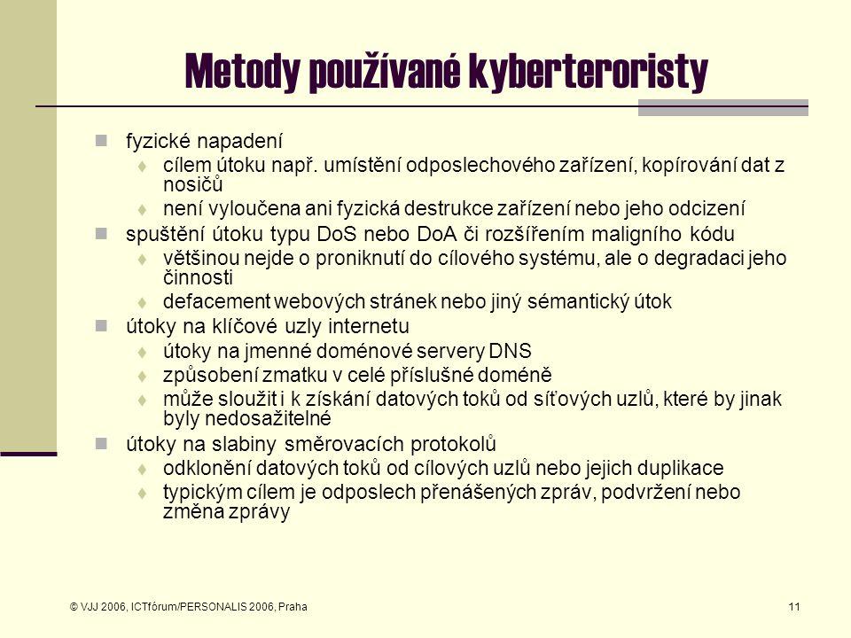 © VJJ 2006, ICTfórum/PERSONALIS 2006, Praha11 Metody používané kyberteroristy fyzické napadení  cílem útoku např. umístění odposlechového zařízení, k