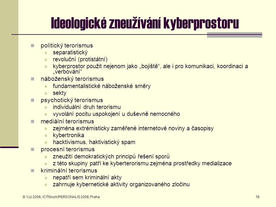© VJJ 2006, ICTfórum/PERSONALIS 2006, Praha16 Ideologické zneužívání kyberprostoru politický terorismus  separatistický  revoluční (protistátní)  k