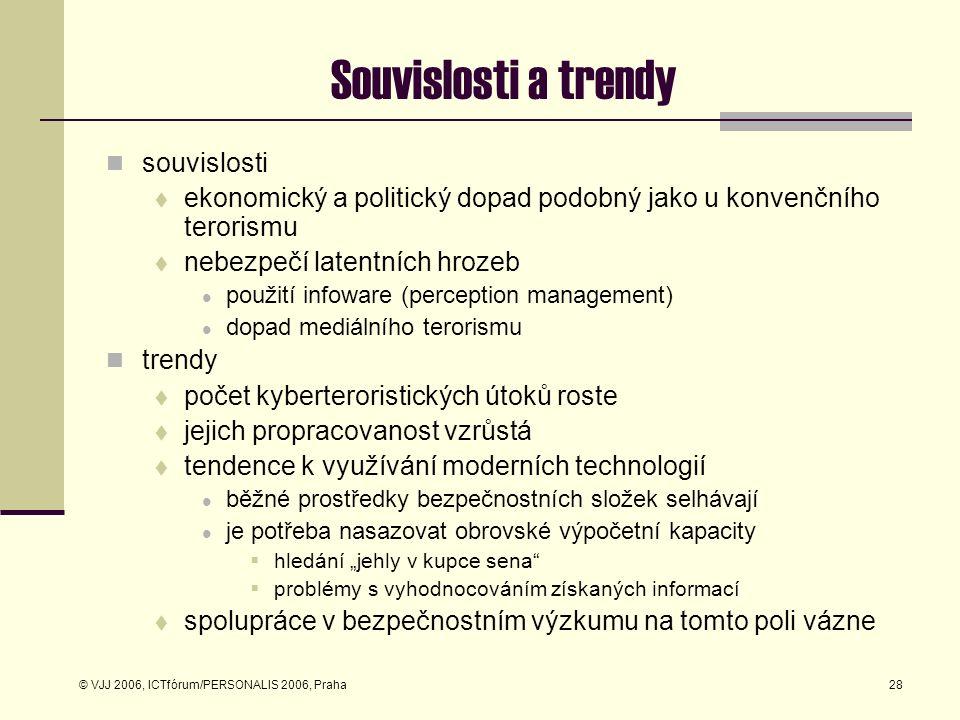 © VJJ 2006, ICTfórum/PERSONALIS 2006, Praha28 Souvislosti a trendy souvislosti  ekonomický a politický dopad podobný jako u konvenčního terorismu  n