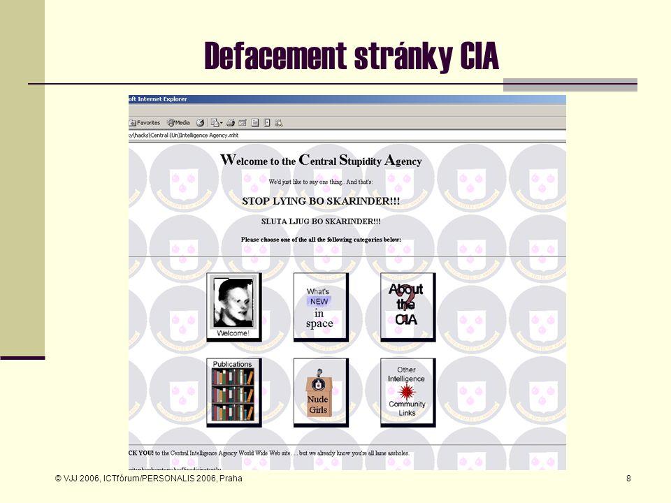 © VJJ 2006, ICTfórum/PERSONALIS 2006, Praha8 Defacement stránky CIA
