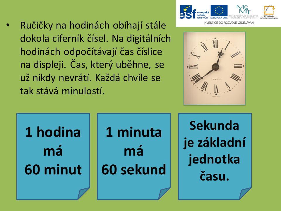 Ručičky na hodinách obíhají stále dokola ciferník čísel. Na digitálních hodinách odpočítávají čas číslice na displeji. Čas, který uběhne, se už nikdy