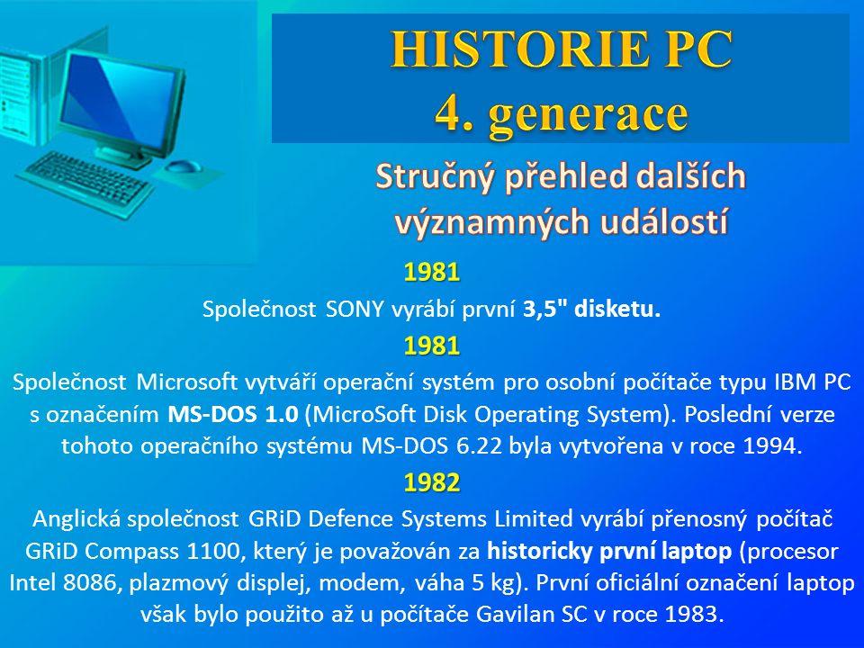 1981 Společnost SONY vyrábí první 3,5 disketu.1981 Společnost Microsoft vytváří operační systém pro osobní počítače typu IBM PC s označením MS-DOS 1.0 (MicroSoft Disk Operating System).