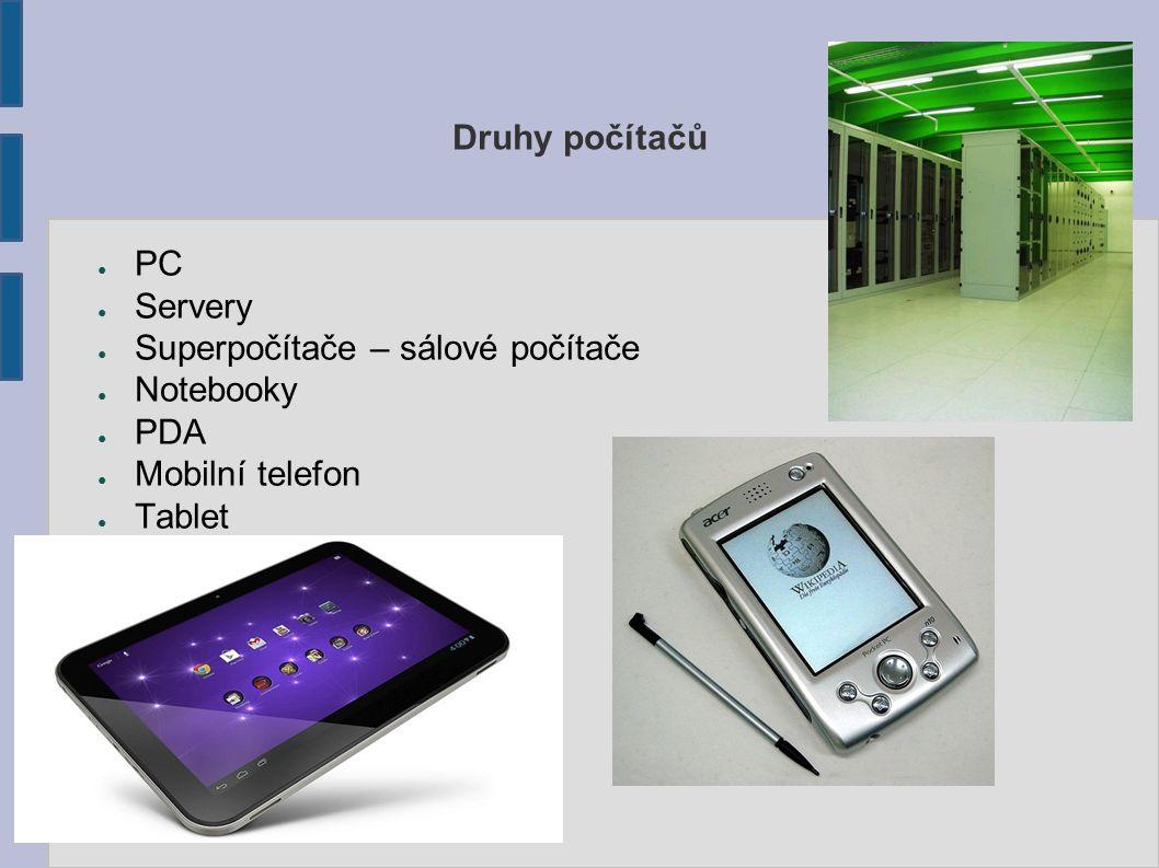 Druhy počítačů ● PC ● Servery ● Superpočítače – sálové počítače ● Notebooky ● PDA ● Mobilní telefon ● Tablet