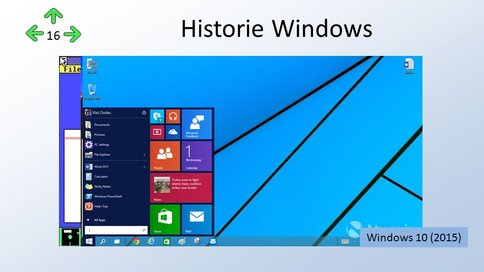 Historie Windows 16 Windows 1.0 (1985)Windows 2.0 (1987)Windows 3.1 (1992)Windows 95 (1995)Windows 98 (1998)Windows XP (2003)Windows 7 (2010)Windows 8