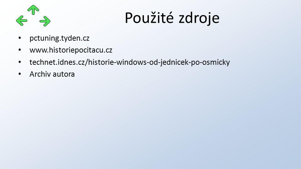 pctuning.tyden.cz www.historiepocitacu.cz technet.idnes.cz/historie-windows-od-jednicek-po-osmicky Archiv autora Použité zdroje
