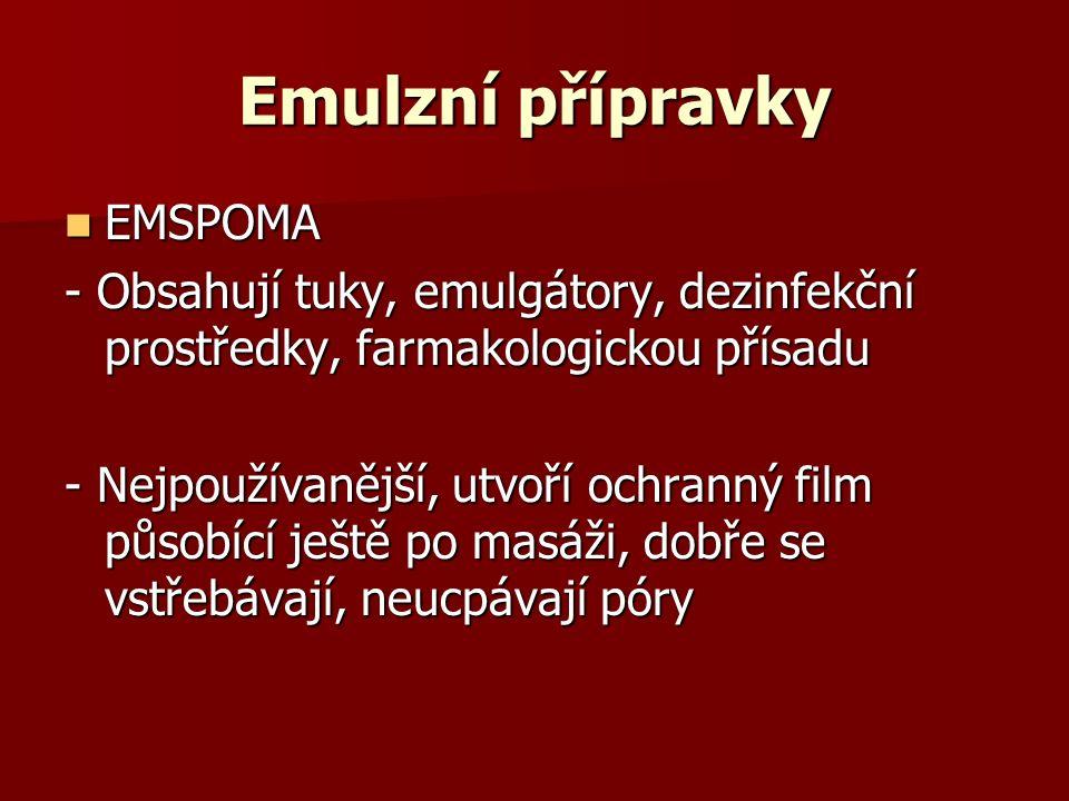 Emulzní přípravky EMSPOMA EMSPOMA - Obsahují tuky, emulgátory, dezinfekční prostředky, farmakologickou přísadu - Nejpoužívanější, utvoří ochranný film působící ještě po masáži, dobře se vstřebávají, neucpávají póry