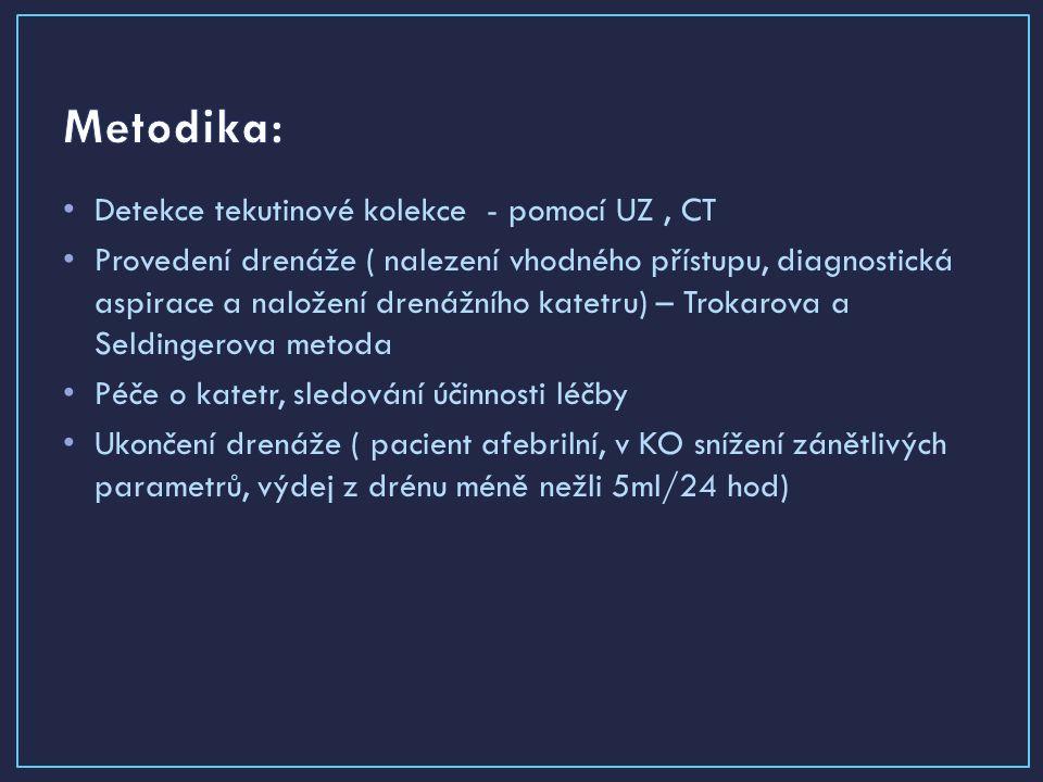 Detekce tekutinové kolekce - pomocí UZ, CT Provedení drenáže ( nalezení vhodného přístupu, diagnostická aspirace a naložení drenážního katetru) – Trokarova a Seldingerova metoda Péče o katetr, sledování účinnosti léčby Ukončení drenáže ( pacient afebrilní, v KO snížení zánětlivých parametrů, výdej z drénu méně nežli 5ml/24 hod)