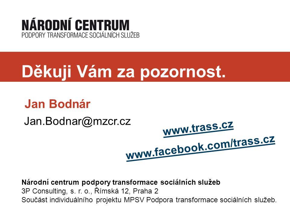 Děkuji Vám za pozornost. Jan Bodnár www.trass.cz www.facebook.com/trass.cz Národní centrum podpory transformace sociálních služeb 3P Consulting, s. r.